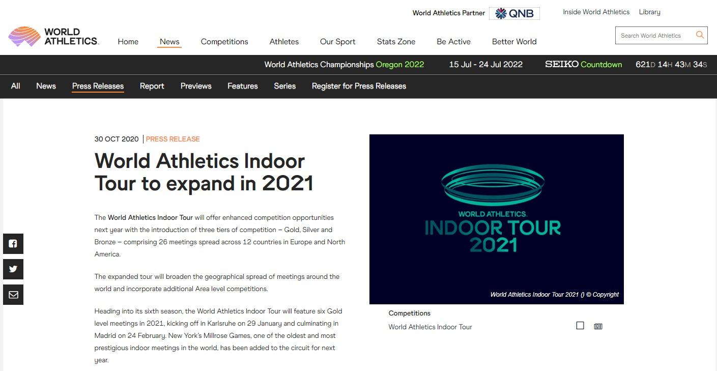 【海外】世界陸連が2021年室内ツアーの概要を発表