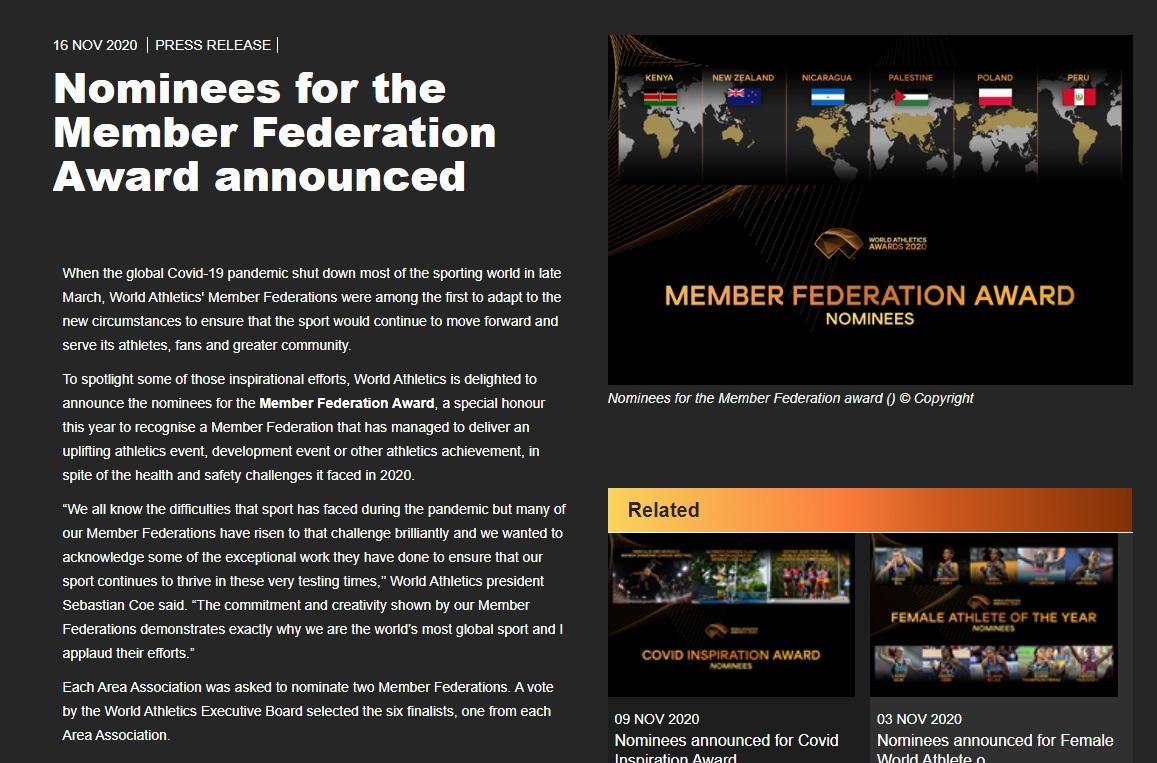 【海外】WA「加盟国賞」のノミネート発表 各地域連盟より選出