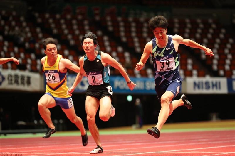 日本室内最速は今年も多田修平、大会新の6秒56!桐生は決勝棄権/日本選手権室内