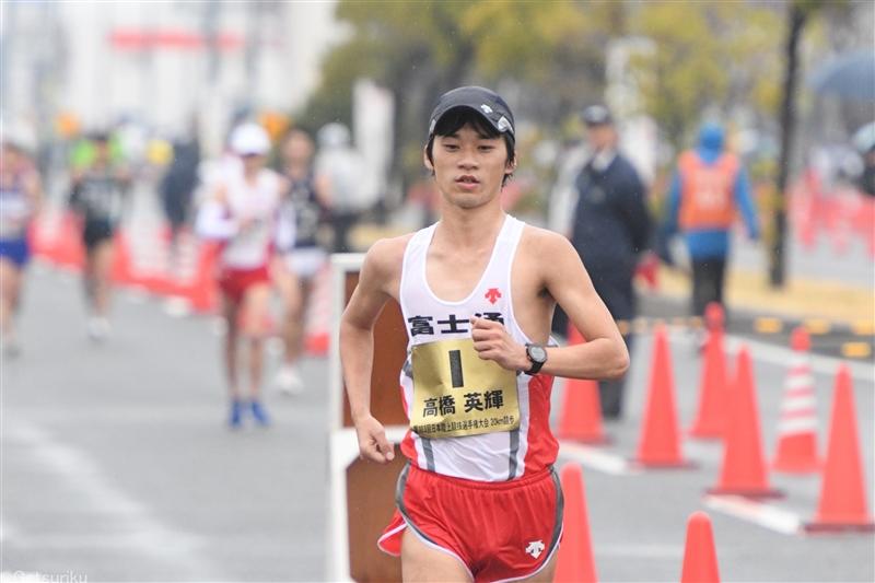 男子20kmは東京五輪代表の高橋が1時間20分19秒でV、2位は50km五輪代表の川野/全日本競歩能美大会