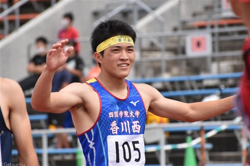 四学香川西の鹿田真翔が110mHと4継、激戦の100mも歓喜の自己新Vで3冠!/IH四国大会