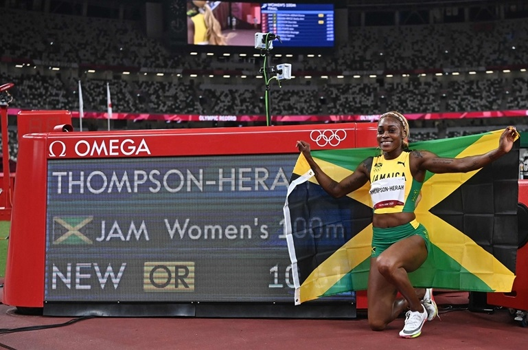 女子最速はトンプソン!ジョイナーの五輪記録塗り替える10秒61で連覇 ジャマイカがメダル独占