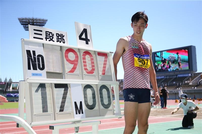 三段跳・伊藤陸が日本人3人目の17m超え!41年ぶり走幅跳と2冠/日本IC